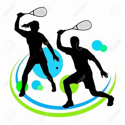 Squash Sport Clipart Player Raqueta Silhouette Volleyball