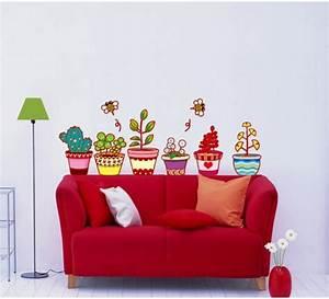stickers pots de fleurs et cactus stickers nature fleurs With chambre bébé design avec porte pots de fleurs à roulettes