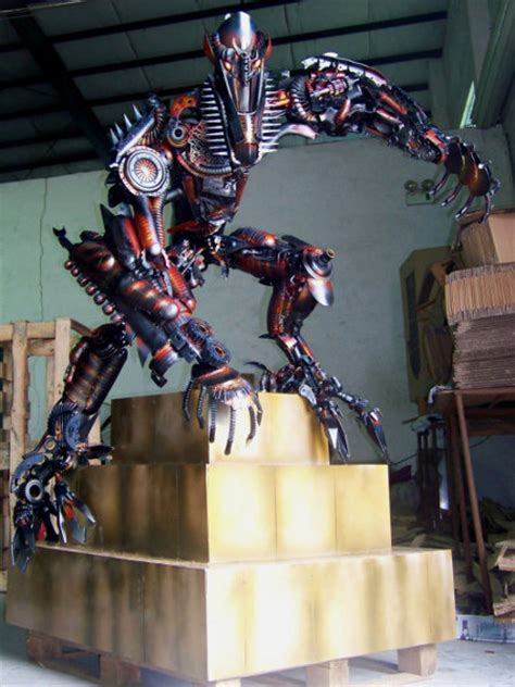 transformers scrap metal fallen sculpture iron army robot recycled builds guy transformer sculptures parts own robots electronic scale copper recycling