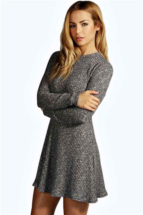 jumper knit dress grace rib knit turtle neck swing jumper dress at boohoo