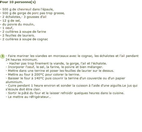 recette de pate de chevreuil facile recette p 226 t 233 de chevreuil facile et rapide