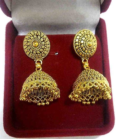 22k 24k gold plated traditional antique south indian earrings jhumka jewelry set ebay