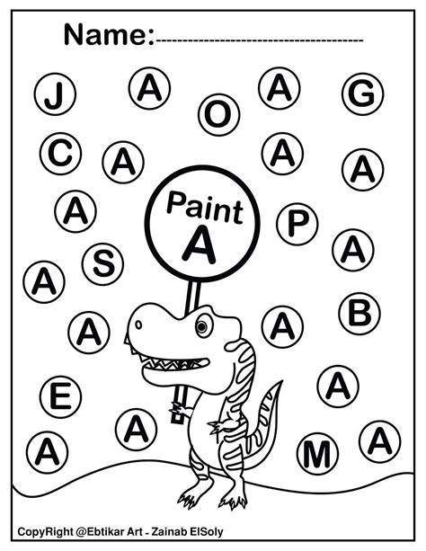 set  abc dinosaur trex activity paint  dot preschool