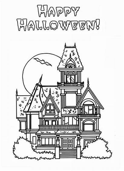 Haunted Coloring Halloween Pages Happy Houses Colouring