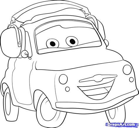 cars characters drawings how to draw luigi from cars step by step disney