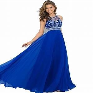 Elegant Royal Blue Chiffon A Line Prom Dresses 2015 Halter ...