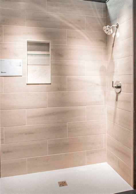 faux shower bathroom shower wall tile bosco cenere faux wood wall and floor tile https www tileshop com