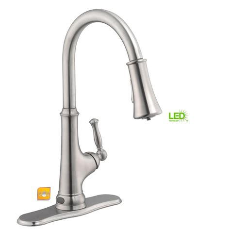 touchless kitchen faucets glacier bay touchless single handle pull sprayer