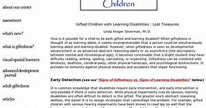 Gifted Children with Learning Disabilities : Lost ...