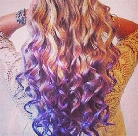Curly Blond Hair And Purple Dyed Ends Hair Beauty