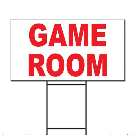 Game Room Red Corrugated Plastic Yard Sign Free Stakes Ebay