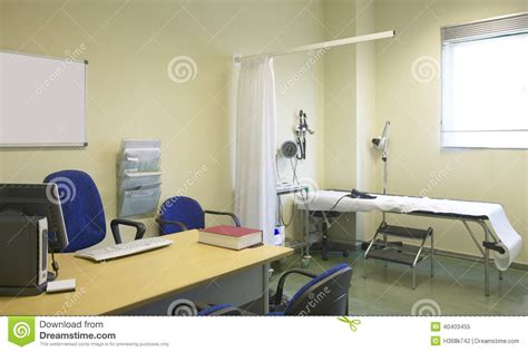 equip bureau hospital room with equipment and desk stock image