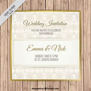 simple wedding invitation with golden detail vector free With golden wedding invitations free downloads