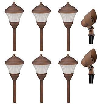 landscape lighting kits amazon malibu lt5019t8 low voltage garden light kit with six 4