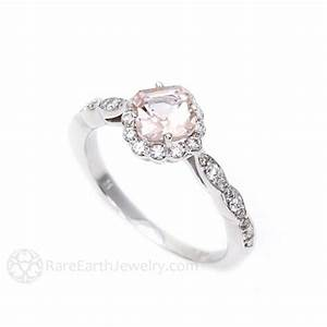 asscher cut morganite and diamond halo engagement ring With rare earth wedding rings