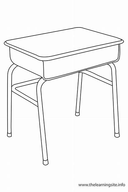Desk Coloring Outline Classroom Object Clipart Flashcards