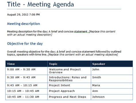 time agenda template word qualified meeting agenda template sle with blue table