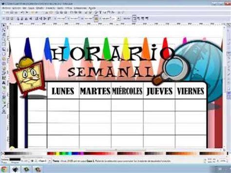 crear un horario escolar con inkscape