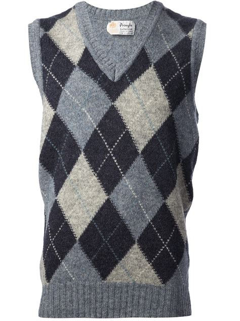 pringle  scotland diamond check sleeveless jumper