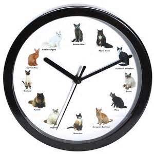 cat clocks meowing cat wall clock 12 breeds incl siamese