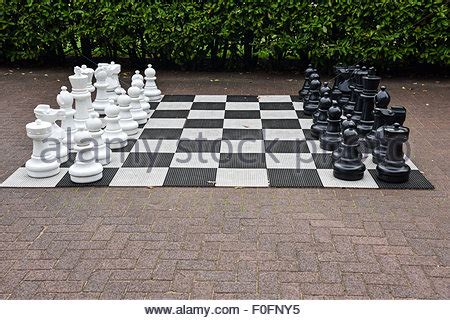 outdoor chess table chess pieces uk stock photo 1290