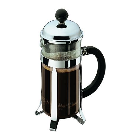 For example, with the donut shop real good coffee whole bean coffee, use 9 tablespoons of ground coffee for a 34 oz french press. How to Use a French Press: Step-by-Step. Use water that is ...