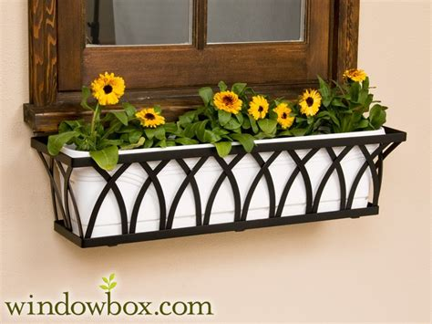 arch tapered iron window box window boxes
