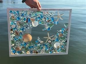 large, beach, glass, coastal, window, mixed, media, sea, glass, mosaic, , glass, art