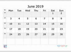 June 2019 Calendar with week numbers printable, start by