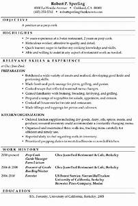 resume sample prep cook With cook resume template