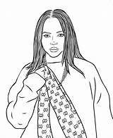 Billie Eilish Coloring Pages Singer Popular Raskrasil sketch template