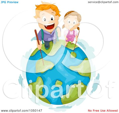 royalty free rf clip illustration of hiking top of earth by bnp design studio 1050147