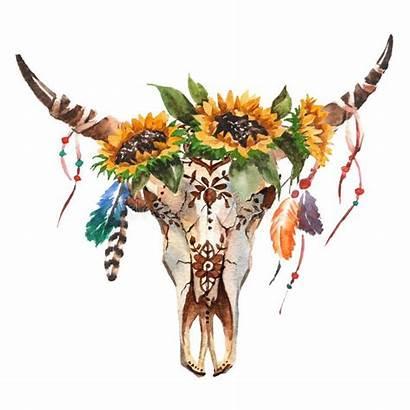 Skull Bull Boho Flowers Feathers Head Watercolor