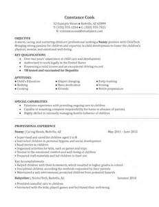 resume template for nanny rtf nanny resume