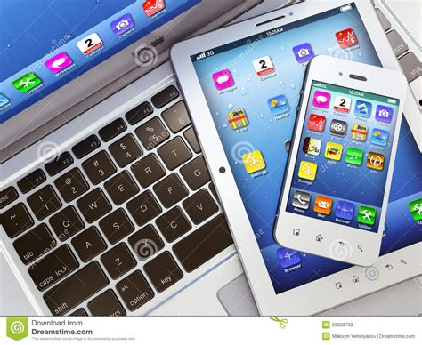 laptop mobile phone and digital tablet pc stock