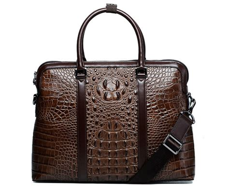 Premium Crocodile Leather Designer Luxury Laptop Brown Bag