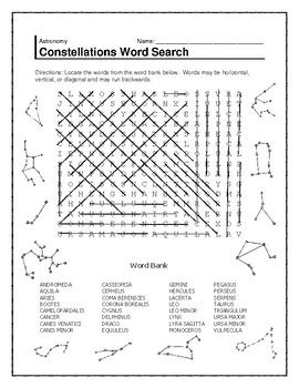 constellation of leo worksheet constellations word search by the science shark tpt
