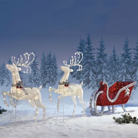 outdoor christmas decoration reindeer twinkling sleigh