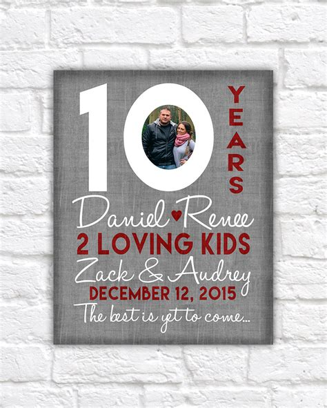 10 year anniversary gift 10th wedding anniversary gift 10 year anniversaries customized gift with photo kid name