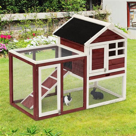 pet rabbit hutch pawhut 48 quot wooden rabbit hutch bunny cage pet house w
