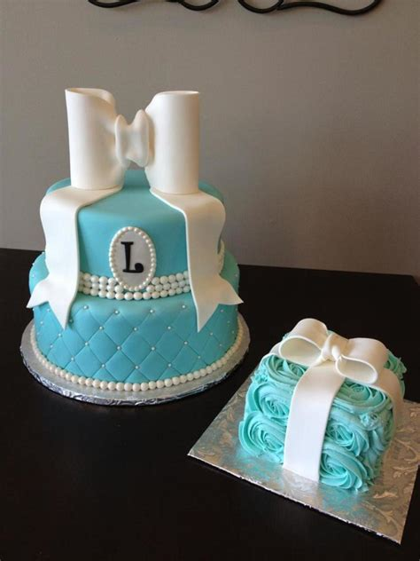 tiffany style  birthday cake  matching smash cake