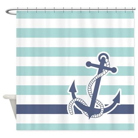 nautical shower curtain nautical anchor stripe light blue shower curtain by