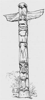 Totem Coloring Poles Native American Tribe Tribal Pride Pages Drawings Totems Colouring Animal Printable Netart sketch template