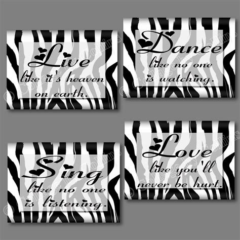 Quote sing dance love wall stickers room decor 16 decals inspirational remove from paper backing, and apply, smoothing with your hand or a dry cloth, removing bubbles,the set includes 16 decals which range in size from 3 x 4 to 19 x 7, they are very easy to apply: White Black Zebra Print Dance Live Love Sing Quote Art Girls