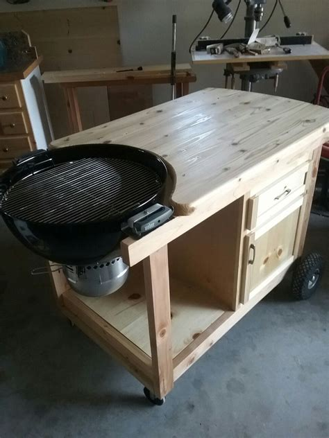 weber grill cart woodworking   grill table diy