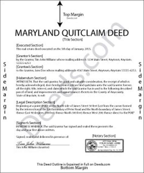 maryland quit claim deed forms deedscom