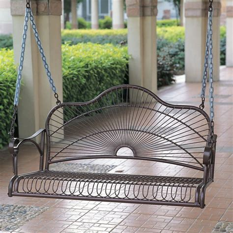 Porch Swing Bench by Outdoor Iron Porch Swing Patio Furniture Chair Metal