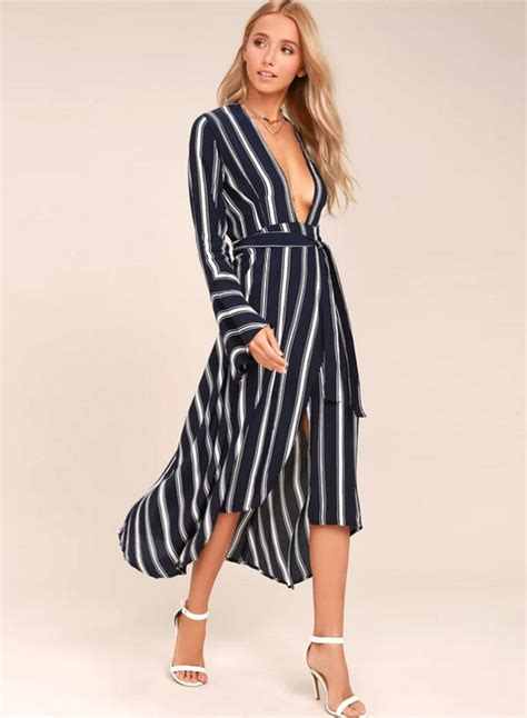 Womens Casual V Neck Long Sleeve Stripe Irregular Maxi