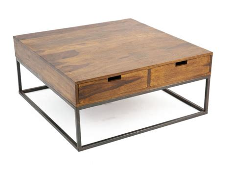 canape usine table basse design industriel 4 tiroirs bois et fer crispy