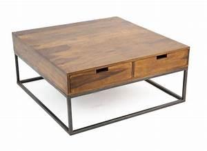 Table Basse Industrielle Carrée : table basse design industriel 4 tiroirs bois et fer crispy 5200 ~ Teatrodelosmanantiales.com Idées de Décoration